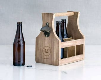 Personalised Wooden 6 Bottle Beer Carrier With Bottle Opener - Christmas Gift, Wedding Gift, Keepsake