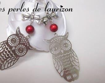 large silver filigree OWL earrings