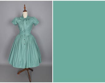 Bonnie Dress in Solid Jade Green