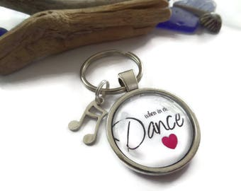 25mm Love to Dance glass dome keyring, dance gift, love to dance, dance music gift, dance party gift, dance keyring, dance glass dome,