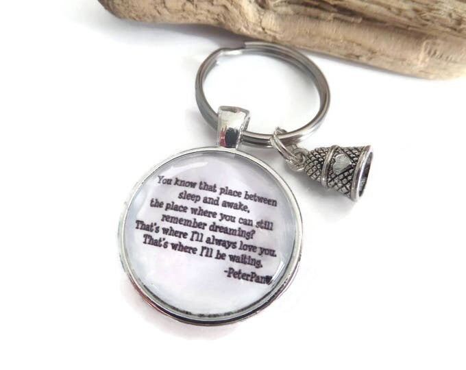 Peter pan gift, always waiting quote, peter pan keyring, always love you gift, thimble gift, thimble keyring, lovers gift, sandykissesuk