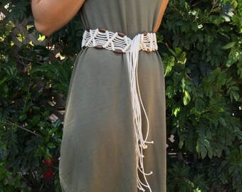 WHITE MACRAME BELT Sash with Brown Wooden Beads