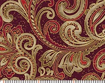 Chickadees & Berries Burgundy Scroll with Gold Gilt from Benartex by the yard