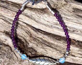 Boho silver, amethyst and moonstone bracelet