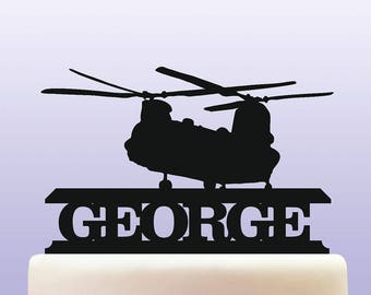 Personalised Acrylic Chinook Helicopter Army & Air Force Military Birthday Cake Topper