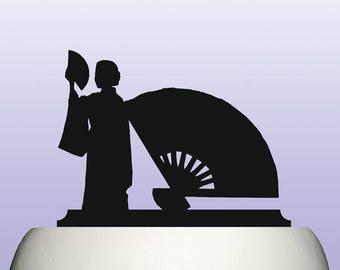 Acrylic Japanese Folding Fan Cake Topper Decoration Souvenir Gift