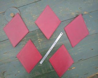 Set of 5 diamonds red leather, cardboard texon