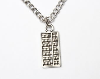 Silver Abacus Necklace, Abacus Necklace, Accountant Necklace Gift, Maths Necklace, Student Gifts, Numbers Necklace, BFF Gifts, Daughter Gift