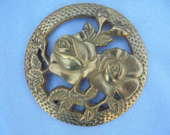 VINTAGE BRASS ROSE Shabby Chic Decor Wall Floral Medallion