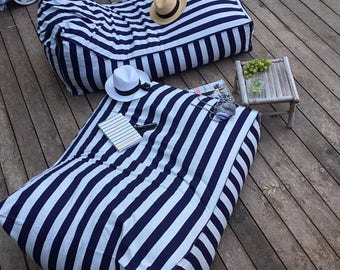 Dorm furniture, navy blue and white stripes, beanbag chair, outdoor furniture, BEANBAG COVER, floor cushion, outdoor beanbag cover