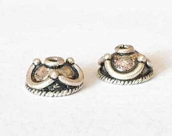 2 Bali Sterling Silver Bead Caps, 10mm