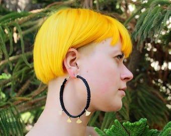 Handmade 8.5 cm Black Hoop Earrings