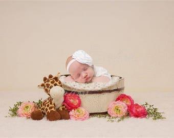 Digital Newborn Backdrop Floral Giraffe Bucket. One of a kind prop!