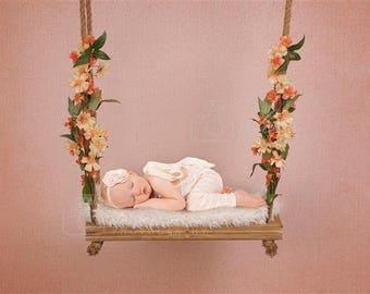 Digital Newborn Backdrop Peach Floral Swing. One of a kind prop!
