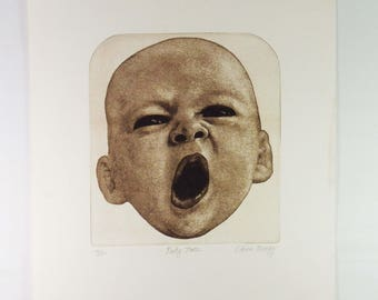 Vintage Baby Face Original Contemporary Lithograph Chick Bragg No. 16/150