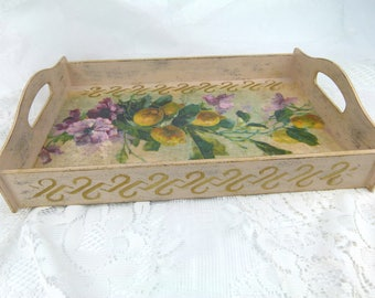 Large Shabby Chic Wooden Serving Tray With Handles