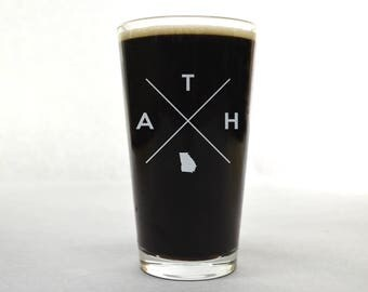Athens Pint Glass | Athens Glass - Beer Glass - Pint Glass - Beer Glasses - Pint Glasses - Beer Mug - Athens - Gift for Dad