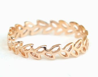 Gold Ring, Leaf Ring, Floral Ring, Connected Leaves Ring, Band Ring, Gold Plated Ring