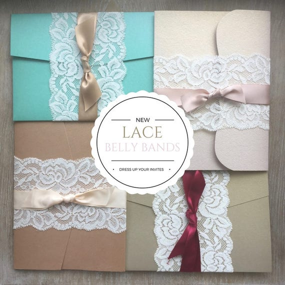 DIY Lace Belly Bands- Stretch Lace Wrap- Fits over any 5x7 Invitation- Dress up your own Invitation