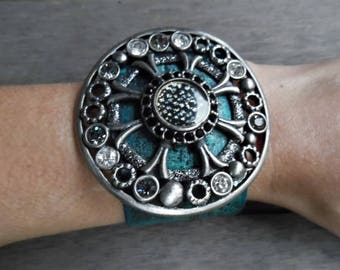 Silver Turquoise Round Metal Rhinestone Studded Pendant Upcycled Leather Cuff Bracelet