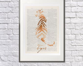 Tiger Copper Metallic Print - Upcycled Dictionary Print - Real Metallic Vintage Foil - Tiger Poster - Tiger Art - Tsai Shen Yeh
