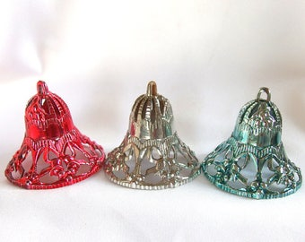 3 Filigree Bell Ornaments, Vintage Red, Silver and Blue Plastic Bell Christmas Ornaments