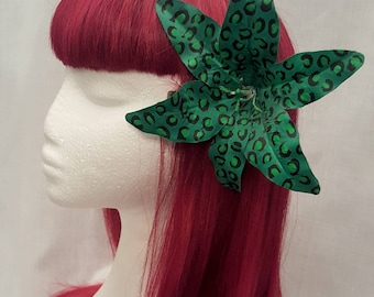 Green leopard extra large lily pinup  flowers hair clip