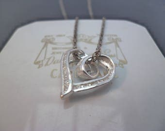 "A sparkly silver and CZ heart pendant necklace - 925 - sterling silver - Marked 925 - 16"" necklace"