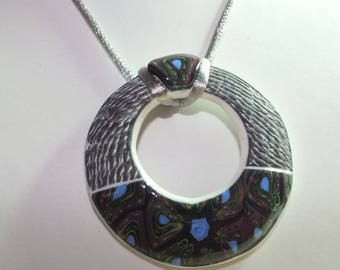 NEW - Pendant necklace round bi-texture