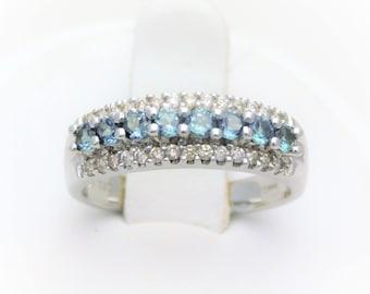 Vintage 14k White Gold Aventurine and Diamond Ring