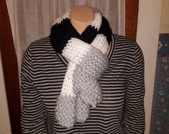 Soft and Warm Striped Scarf in Black, Grey, White. SHIPPING INCLUDED