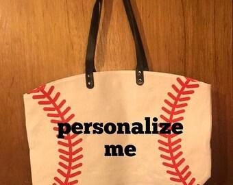 ON SALE Baseball bag - baseball purse - canvas softball bag - baseball tote bag - monogrammed bag - monogrammed baseball bag - custom beach