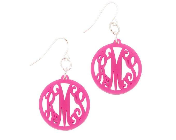 Monogrammed Earrings, Personalized Earrings, Custom Earrings, Script Font or Block Font, Gold Or Silver Ear Wires, Choose Your Color, 1 inch