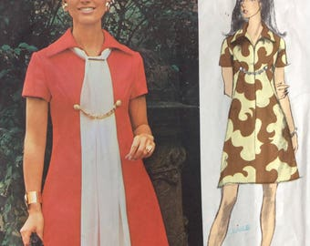 Vogue Americana 2299 vintage 1970's misses A-line dress  sewing pattern  Designed by Bill Blass  size 12  bust 34