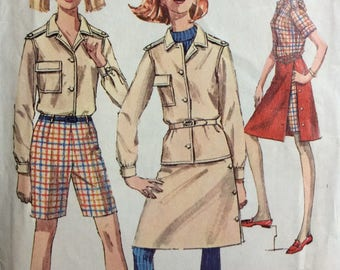 Simplicity 7260 misses shirt, shorts and side-wrap skirt size 16 bust 36 waist 28 vintage 1960's sewing pattern