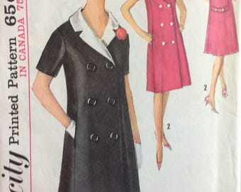 Simplicity 5273 misses coatdress with detachable collar size 14 bust 34 vintage 1960's sewing pattern