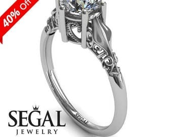 White Gold Engagement Ring Moissanite Ring Antique Ring Solitaire Engagement Ring Victorian Ring White Gold Engagement Ring - Reagan