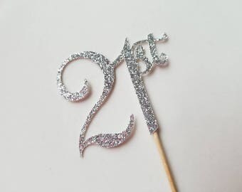 21st Glitter Cupcake Toppers... Birthday... Gold.... Silver... Black...