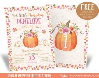 Our Little Pumpkin Birthday Invitation, Pumpkin Invitations, Fall Autumn 1st Birthday Invites, Pumpkin 2nd birthday Invitations for Girl
