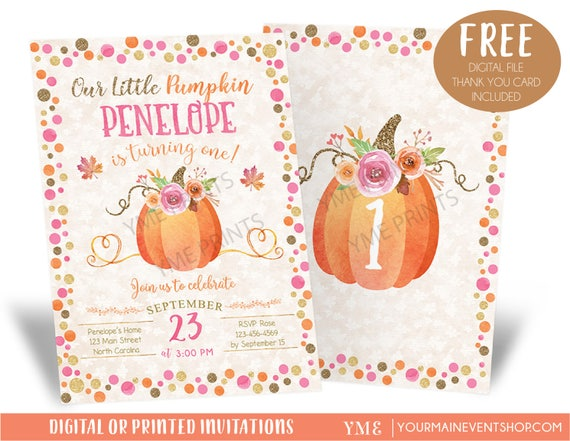 Our Little Pumpkin Birthday Invitation, Pumpkin Invitations, Fall Autumn 1st Birthday Invites, Pumpkin 2nd birthday Invitations for Girl