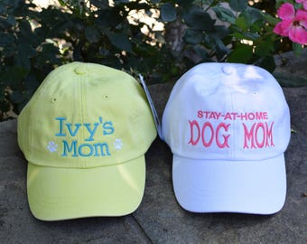 Dog Lover Baseball Cap   Dog Mom or Dog Dad Embroidered Gift  Monogram by Three Spoiled Dogs Made in USA