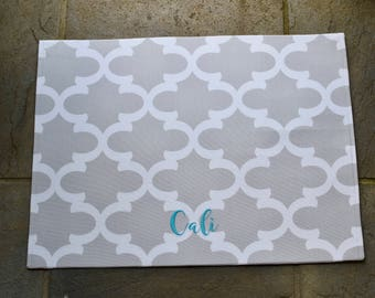 Personalized Grey Dog Placemat    Quatrefoil Pet Food + Water Bowl Mat    Water Repellent Custom Dog Feeding Station    Puppy Gift