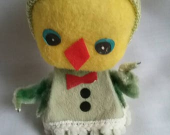 Vintage Flocked Easter Chick Chenille, Japan
