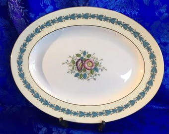 "Large 15"" Oval Serving Platter Wedgwood Yellow Floral Appledore China England MINT"