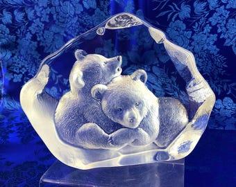 Mats Jonasson Sweden Bear Cubs Crystal Glass Decor Paperweight Swedish Mint