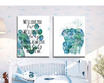 Aqua Elephant Nursery decor Printable Teal Elephant Moroccan Style Nursery decor set of 2 Printable wall art