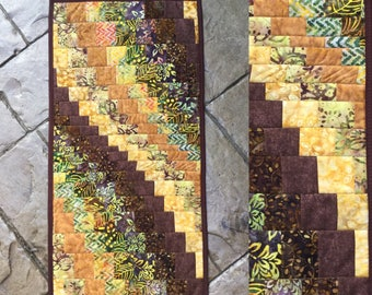 "Batik bargello style quilted table runner  16"" x 32""  table topper dresser runner  scarf  quilted table runner"