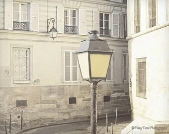 Paris Photograph, Paris Photography Print, Wall Art, Rustic Photo, French Decor, Lamp Post, Street Scene, Bedroom Art, Apartment Decor,