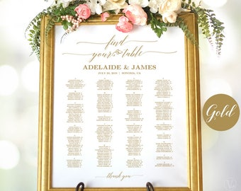 Gold Wedding Seating Chart Sign, Printable Wedding Seating Chart, Alphabetical Seating Chart, Matches Gold Text Greenery and Peach Blush