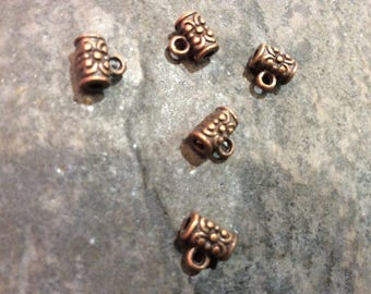 Antique Copper Charm Bails package of 5 Large Hole Beads Charm holder for cords